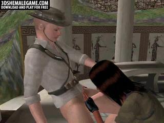 3D Порно Лара крофт отсасывает И Получает Fucked