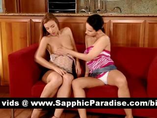 Очаровательны Brunette И Блондинка Lesbias Целоваться И Раздеваться И Имеющие Лесбийский Секс