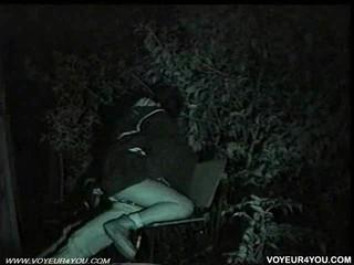 Полночь Уличной Скамейке Секс