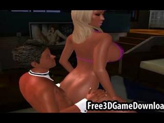 3D Мультфильм Шлюха В Сексуальные Розовые Бикини трахает