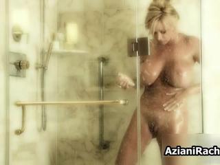 Супер Сексуальная Блондинка С Большими Сиськами Принятие Душа AzianiRachel